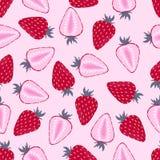 Modèle avec la fraise sur le rose illustration stock