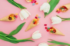 Modèle avec la sucrerie de sucre lumineuse en cônes de gaufre et fleurs blanches sur le fond rose Configuration plate, vue supéri Photographie stock libre de droits