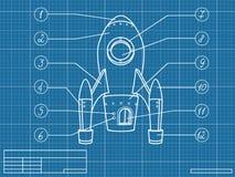 Modèle avec le vaisseau spatial Photographie stock libre de droits