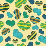 Modèle avec les coeurs abstraits bleus, verts, jaunes illustration libre de droits