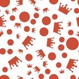 Modèle avec les couronnes et les points rouges le rouge entoure le modèle et la couronne sans couture Photos libres de droits