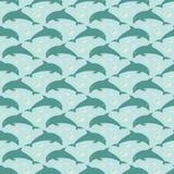 Modèle avec les dauphins sautants Images stock