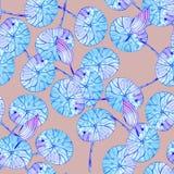 Modèle avec les feuilles bleues sur le fond rose illustration de vecteur