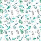 Modèle avec les feuilles vertes et bleues illustration de vecteur