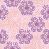 Modèle avec les fleurs abstraites aux nuances en pastel et lilas Photo stock