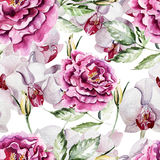 Modèle avec les fleurs et les orchidées sensibles de pivoine Photo libre de droits