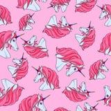 Modèle avec les licornes roses illustration de vecteur