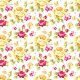 Modèle avec les roses jaunes et roses Illustration Libre de Droits