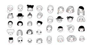 Modèle avec les visages graphiques Illustration de vecteur Ensemble de graphismes de gens illustration de vecteur