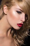 Modèle avec un maquillage parfait Photographie stock