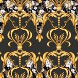 Modèle baroque sans couture avec des fleurs illustration stock