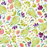 Modèle blanc avec le renard et les fleurs verts illustration stock