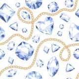 Modèle blanc de pierres gemmes de chaînes d'or Photos stock