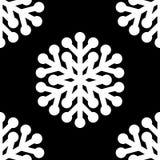 Modèle blanc de symbole de flocons de neige sur le fond noir illustration stock