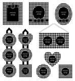Modèle blanc noir réglé de pied-de-poule de cadre de photo Photographie stock