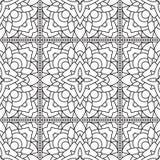 Modèle blanc noir tribal abstrait sans couture dans la ligne style mono Photographie stock