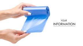 Modèle bleu de sacs de déchets à disposition images libres de droits