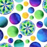 Modèle bleu et vert sans couture de bulle sur un fond blanc Image libre de droits