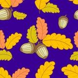 Modèle bleu-foncé avec des feuilles et acorns-01 Photos stock