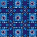Modèle bleu géométrique et floral sans couture Image stock