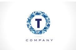Modèle bleu Logo Design de la lettre T Images libres de droits