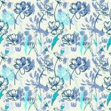 Modèle bleu sans couture avec des wildflowers Photographie stock