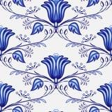 Modèle bleu sans couture des fleurs et des branches Stylization de la peinture russe ou chinoise sur la porcelaine illustration stock