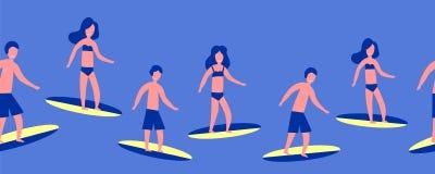 Modèle bleu sans couture plat des surfers, illustration de vecteur illustration de vecteur