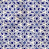 Modèle carré coloré de batik d'aquarelle de style artistique sans couture indigène de boho Images stock
