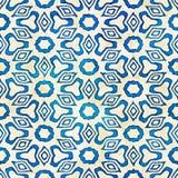 Modèle carré coloré de batik d'aquarelle de style artistique sans couture indigène de boho Image libre de droits