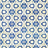 Modèle carré coloré de batik d'aquarelle de style artistique sans couture indigène de boho Image stock