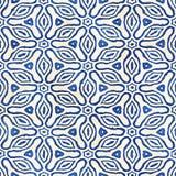 Modèle carré coloré de batik d'aquarelle de style artistique sans couture indigène de boho Photographie stock libre de droits