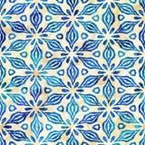 Modèle carré coloré de batik d'aquarelle de style artistique sans couture indigène de boho Illustration Stock
