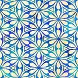 Modèle carré coloré de batik d'aquarelle de style artistique sans couture indigène de boho Illustration de Vecteur