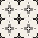 Modèle carré ethnique croisé simple noir et blanc sans couture de vecteur Photo libre de droits