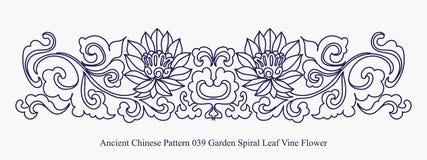 Modèle chinois antique de fleur de vigne de feuille de spirale de jardin Photo libre de droits