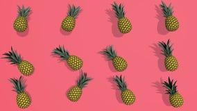 Modèle coloré avec des éléments des ananas 3D, enregistrement vidéo 4K loopable illustration libre de droits