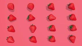 Modèle coloré avec des éléments des fraises 3D, enregistrement vidéo 4K loopable illustration libre de droits