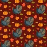 Modèle coloré avec l'oiseau et les feuilles de dinde de bande dessinée Fond sans couture pour la célébration heureuse de thanksgi Image stock