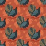 Modèle coloré avec l'oiseau et les feuilles de dinde de bande dessinée Fond sans couture pour la célébration heureuse de thanksgi Images stock