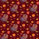 Modèle coloré avec l'oiseau et les feuilles de dinde de bande dessinée Fond sans couture pour la célébration heureuse de thanksgi Image libre de droits