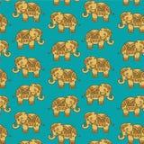 Modèle coloré d'éléphant d'Asie illustration de vecteur