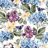 Modèle coloré d'aquarelle avec des hortensias, l'alstroemeria, des iris et des oiseaux de fleurs Photographie stock