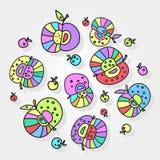Modèle coloré d'isolement des groupes de pommes illustration libre de droits