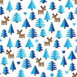 Modèle coloré de pixel avec des éléments du pays des merveilles d'hiver Photos stock