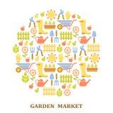 Modèle coloré du marché d'agriculture, de ferme et de jardin Photographie stock libre de droits