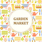 Modèle coloré du marché d'agriculture, de ferme et de jardin Image stock