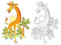 Modèle coloré et noir et blanc pour la coloration Illustration de petite girafe mignonne Fiche de travail pour des enfants et des illustration libre de droits