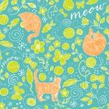 Modèle coloré sans couture avec les chats rouges sur le fond de turquoise illustration libre de droits