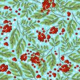 Modèle coloré sans couture d'automne avec des baies de sorbe et des feuilles vertes sur un fond bleu avec des flocons de neige So images libres de droits
